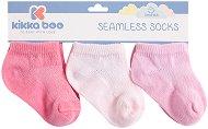 Бебешки памучни чорапи - Solid Pink - Комплект от 3 чифта -