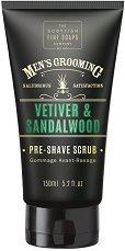 """Scottish Fine Soaps Men's Grooming Vetiver & Sandalwood Pre-Shave Scrub - Скраб за преди бръснене за мъже от серията """"Men's Grooming"""" - олио"""