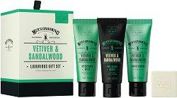 Scottish Fine Soaps Men's Grooming Vetiver & Sandalwood Luxurious Gift Set - Луксозен подаръчен комплект за мъже с козметика за бръснене - душ гел