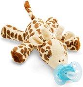 """Плюшен държач за залъгалка - Жирафче - Комплект със силиконова залъгалка от серия """"Ultra Soft"""" за бебета от 0 до 6 месеца -"""