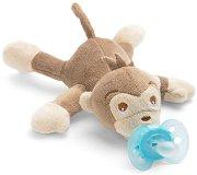 """Плюшен държач за залъгалка - Маймунка - Комплект със силиконова залъгалка от серия """"Ultra Soft"""" за бебета от 0 до 6 месеца -"""