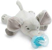 """Плюшен държач за залъгалка - Слонче - Комплект със силиконова залъгалка от серия """"Ultra Soft"""" за бебета от 0 до 6 месеца -"""