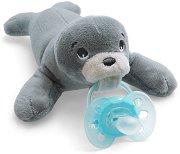 """Плюшен държач за залъгалка - Тюленче - Комплект със силиконова залъгалка от серия """"Ultra Soft"""" за бебета от 0 до 6 месеца -"""