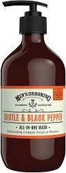 """Scottish Fine Soaps Men's Grooming Thistle & Black Pepper All-in-One Wash - Измиващ гел за мъже за тяло, лице и коса от серията """"Men's Grooming"""" -"""