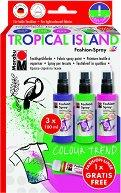 Спрей за текстил - Tropical Island - Комплект от 3 цвята и контур