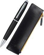 Химикалка и кожен калъф - Calais Matt Black