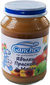 Ganchev - Пюре от ябълки, праскови и манго - Бурканче от 190 g за бебета над 4 месеца - пюре