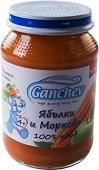 Ganchev - Пюре от ябълки и моркови 100% плод - Бурканче от 190 g за бебета над 4 месеца - пюре