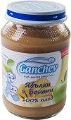 Ganchev - Пюре от ябълки и банани 100% плод - Бурканче от 190 g за бебета над 4 месеца - пюре