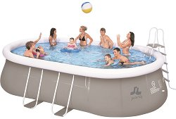 Надуваем басейн - Комплект с пясъчен филтър, покривало, подложка и стълба -