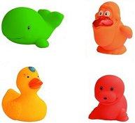 Забавни животни - Комплект от 4 броя играчки за баня -