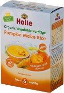 Holle - Био инстантна безмлечна пълнозърнеста каша с тиква, царевица и ориз - Опаковка от 175 g за бебета над 6 месеца - пюре
