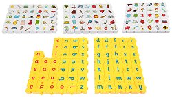 """Английска азбука с малки букви - 172 части - Образователен конструктор с шаблони за игра от серията """"Wordphun"""" -"""
