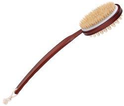 """Масажна четка за тяло от дърво и естествен косъм - От серията """"Magnum Natural"""" - крем"""