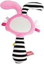 Дрънкалка с огледалце - Мека бебешка играчка с писукащ ефект -