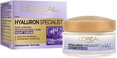 """L'Oreal Hyaluron Specialist Night Cream - Нощен крем за лице с хиалуронова киселина от серията """"Hyaluron Specialist"""" - серум"""