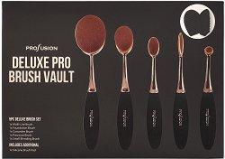 Profusion Cosmetics Deluxe Pro Brush Vault - Комплект от 5 четки за грим и силиконова подложка за почистване -