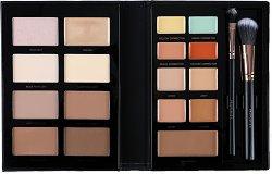 """Profusion Cosmetics Pro Conceal & Contour - Палитра коректори, бронзанти и хаилайтъри  за лице с четки от серията """"Beauty Books"""" -"""