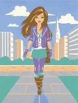 Рисуване по номера - Градско момиче - Комплект за картина с размери 22.5 x 30.5 cm