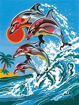Рисуване по номера - Делфини - Комплект за картина с размери 22.5 x 30.5 cm