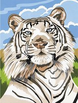 Рисуване по номера - Бял тигър - Комплект за картина с размери 22.5 x 30.5 cm