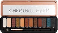 Profusion Cosmetics Chestnut Eyes Eyeshadow Makeup Case - Палитра с 12 цвята сенки за очи и четка -