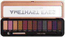 Profusion Cosmetics Amethyst Eyes Eyeshadow Makeup Case - Палитра с 12 цвята сенки за очи и четка -