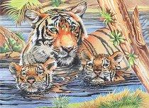 Комплект за рисуване по номера - Тигри - Комплект за картина с размери 30.5 x 22.5 cm