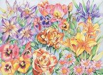 Комплект за рисуване по номера - Цветя - Комплект за картина с размери 30.5 x 22.5 cm
