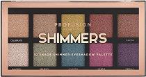 Profusion Cosmetics Shimmers Eyeshadow Palette - Палитра с 10 цвята сенки за очи -