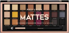 """Profusion Cosmetics Artistry Collection Mattes - Палитра с 24 цвята сенки за очи и четка от серията """"Artistry Collection"""" - крем"""