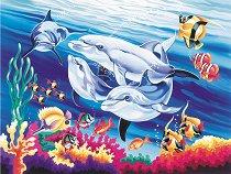 Рисуване по номера - Делфини в морето - Комплект за картина с размери 22 x 30 cm