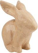 Фигура от папиемаше - Заек - Предмет за декориране с размери 9 / 15 / 15 cm