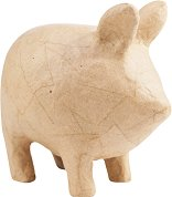 Фигура от папиемаше - Прасенце - Предмет за декориране с размери 9.5 / 14 / 13.5 cm
