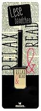 Метален книгоразделител - щипка: Relax & Read -