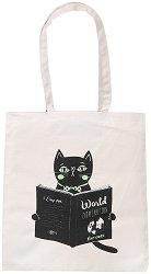 Текстилна чанта за книги - World Domination for Cats -