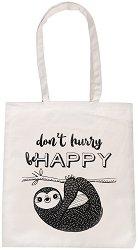 Текстилна чанта за книги -  Don't hurry be Happy -