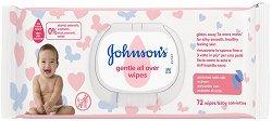 Johnson's Baby Gentle All Over Wipes - Бебешки мокри кърпички в опаковка от 72 броя -
