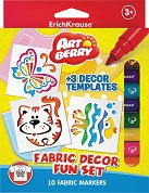 Маркери за текстил - Комплект от 10 цвята с 3 шаблона за оцветяване