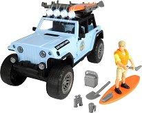 """Джип с аксесоари за сърфиране - Комплект за игра със звуков и светлинен ефект от серията """"Playlife"""" -"""