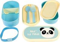 """Кутия за храна - Пандата Мико - Комплект с прибори за хранене от серията """"Miko The Panda"""" -"""