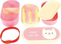 """Кутия за храна - Коте - Комплект с прибори за хранене от серията """"Cookie the cat Bento"""" - несесер"""