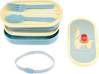 """Кутия за храна - Лама - Комплект с прибори за хранене от серията """"Dolly Llama Bento"""" -"""