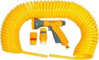 Спираловиден маркуч - 15 m, ∅ 9 mm - Комплект с пистолет за поливане, съединители и адаптер за кран