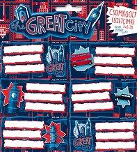Етикети за тетрадки - The Great CIty - Комплект от 18 броя -