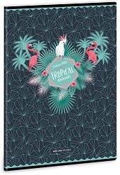 Ученическа тетрадка - Pink Flamingo : Формат А4 с широки редове - 40 листа - детски аксесоар