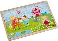Принцеси - Детски дървен пъзел в подложка -
