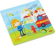 Пожарникар - Детски дървен пъзел в подложка -