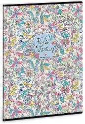 Ученическа тетрадка - Floral Jungle : Формат А4 с широки редове - 40 листа -