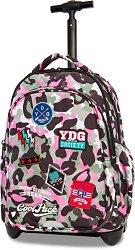 Ученическа раница с колелца - Junior: Camo Pink Badges - продукт